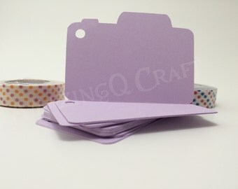 Camera Paper Tags - Light Purple Color - Cardstock Paper Hang Tags - Set of 50
