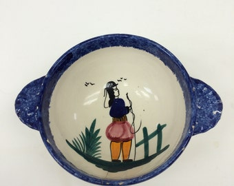 Vintage Quimper Lug Bowl from  France