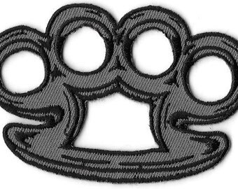 Brass Knuckles Embroidered Patch, Iron On Applique, Knuckle Dusters