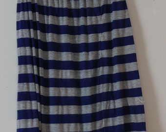Blue and grey striped maxi skirt