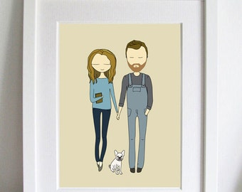 Custom Portrait, Family portrait, couple drawing, anniversary, gift, Illustration, brides maids gift