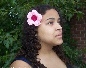 Crochet Hair Flower, Hair Flower, Hair Flower Clip, Flower Clip, Pink Flower Clip, Pink Hair Flower, Pink Flower Clip, Pink Crochet Flower