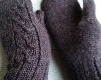 Brown/chestnut mittens/gloves handmade knitted.