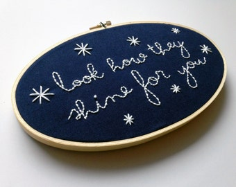 Look How They Shine For You // Coldplay Lyrics // Oval Embroidery Hoopart, Navy