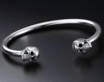 Sterling Silver Skulls Cuff Bracelet