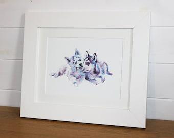 Husky Animal Fine Art Watercolour PRINT