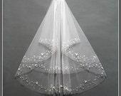 Bridal Veil Comb, Elbow Length Bridal Veil, Two Tier Bridal Veil, Bridal Veil Fingertip, Ivory Wedding Veil, Wedding Veil with Crystals/V001