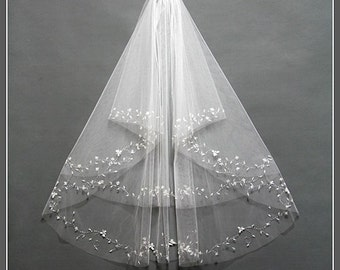 Wedding Veil, Bridal Veil, Elbow Length Wedding Veil, Fingertip Wedding Veil, Two Tier Bridal Veil, Ivory Wedding Veil, /V001