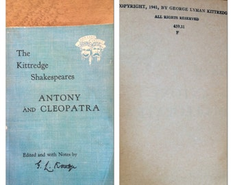 1941 classic book called The Kittredge Shakespeares - Antony and Cleopatra. Vintage book.