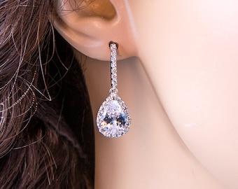 Wedding Earrings Zirconia Earrings Wedding Jewelry Bridesmaid Earrings Bridesmaid Accessories Dangling Teardrop Earrings stl37