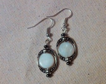 White Shell and Oval Bead Earrings