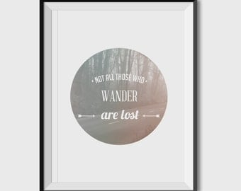 PosterA3 / A4, ART WORK, graphic print, Lost Quote, mist and wood, typography, morning calm and silent