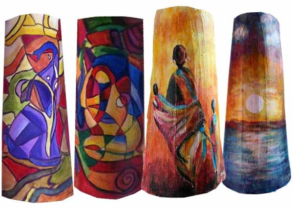 Tejas pintadas a manopara pared o como lamparas muy por for Pintura para tejas