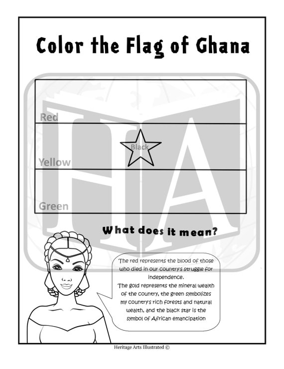 Items similar to 1 flag of ghana coloring page on etsy for Ghana flag coloring page
