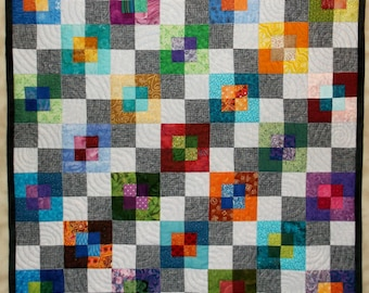 Layered Squares Modern Wall Quilt
