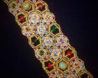 Crystal Honeycomb Beaded Bracelet Tutorial
