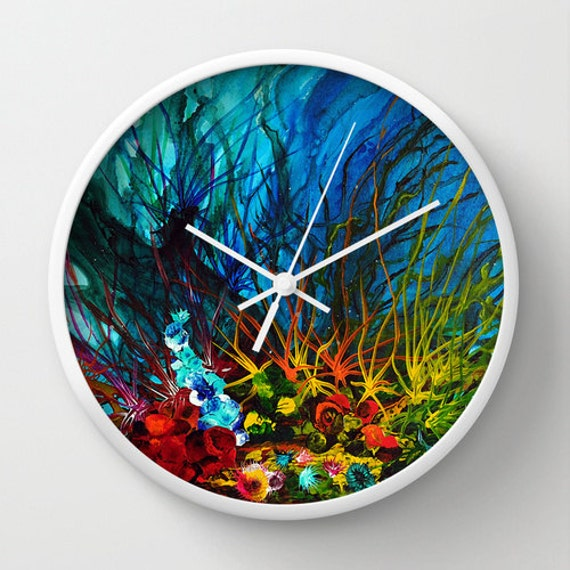 Art Wall Clock Beach House Decor Unique Clock Turquoise Teal Pool