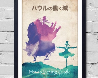 Howl's Moving Castle. Poster art poster home decor print wall watercolor