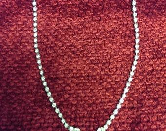 Vintage Rhinestone Single Pearl Necklace Silver