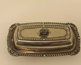 Silver Plated Butter Dish With Glass Insert