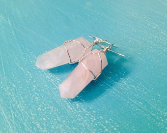 Wire Wrapped Rose Quartz Point Dangle Earrings