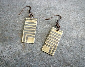 Etched Brass Earrings, Antiqued Brass Earrings, Etched Brass Jewelry, Oxidized Brass Earrings, Geometric, Abstract