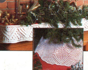Christmas Tree Skirt and Fireplace Mantel Scarf Knitting Pattern Winter Holiday Knitting Patterns PDF Instant Download