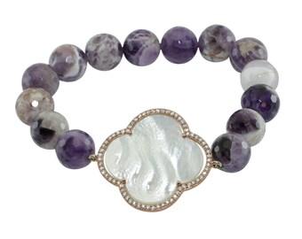 "Handmade 8"" Bracelet, Raw Amethyst Bead Bracelet, Mother of Pearl Clover, Statement Bracelet, Purple Bracelet, White Bracelet, Gift Bracelet"