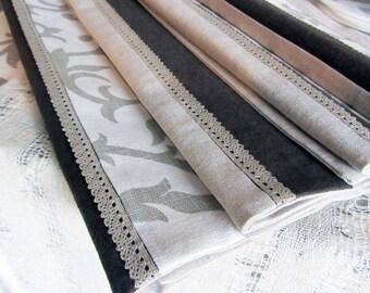 Natural Linen Napkin Set of 4/6/8 - Custom color - Handmade linen napkins