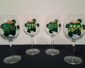 "Hand-Painted Irish ""Pot of Gold"" Wine Glasses, Set of 4"