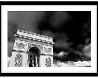 The Arc De Triomphe, Paris, France. Black and White Fine Art Photograph printed on 308gsm Hahnemuhle fine art paper (Unmatted)