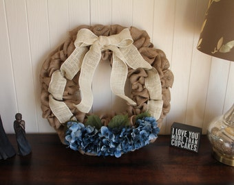 Handcrafted Burlap Wreath with Blue Hydrangeas