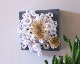 Crochet Wall Art - textile wall art - crochet - ready to hang - small art - kids decor - Little Universe