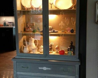 Refreshed antique lighted China hutch SOLD