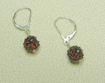 Little red disco ball earrings