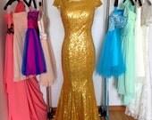 Gold Sequin Mermaid Backless Prom Dress,Long V-back Bridesmaid Evening Formal Dress Wedding Party Dresses 2015