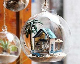 Miniature DIY Aegean Sea House in Glass Ball