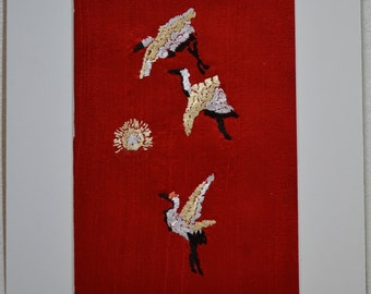 Embroidery on Red Silk, matted - Satin on silk embroidery - Zen symbol on red dupioni silk - 5 x 7 matted - flying cranes - rising sun