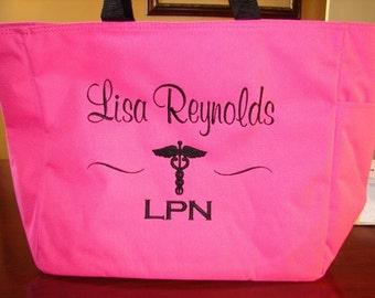 Tote Bag Personalize Nurse Student RN cna lpn ER Lvn Nicu Medical Assistant Emergency Room Department Nursing Hospital