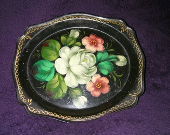 Vintage -  Zhostovo Painted Flowers Small Black Metal Tray, USSR, Russian
