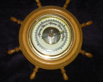 Vintage, German wooden ships wheel Barometer,Collectable. Wood, Brass