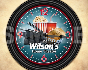Home Theater Cinema Personalized Wall Clock - Man Cave - Wall Decor