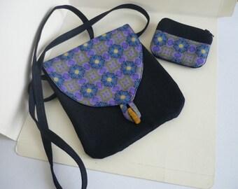 Small bag cotton  denim, matching coin purse  - Geometric pattern