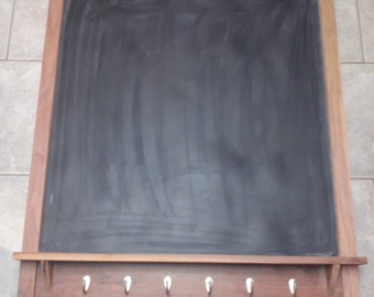 Black Walnut Chalkboard with key hooks