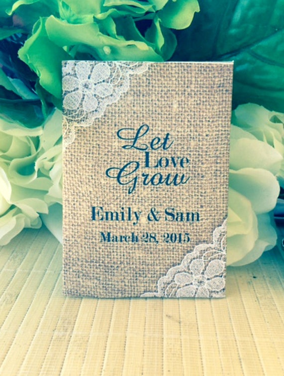 Wedding Favors, Shabby Chic Wedding, Burlap and Lace Wedding, Wedding Seed Packets, Personalized Wedding Favors, Seed Packet Favors