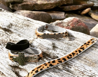 Leopard fur bracelet can be ordered with or without embellishment