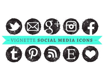 Social Media Icons - VECTOR Files - for Blogs & Websites - black vignette