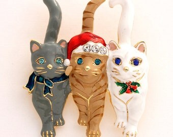 Christmas Brooch, Christmas Broach, Cats, Broach, Christmas, Brooch, Jewelry for Cat Lover, DIY Project Jewelry Craft Embellishment