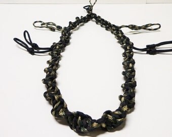 Custom Spiral Paracord Goose/Duck Call Lanyard Black and Camo