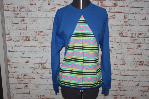 Blue Jumper, Aztec Triangle, size - Large (12-14)